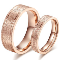 Wholesale Stylish Gold Rings For Women - Korean STYLISH Sandblasting craft rose gold couple rings titanium steel 18K gold ring for man and woman in engagement weddings for love