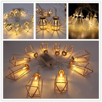 Wholesale Diamond Drops Decorations - LED Iron Art Light string Diamond shape Night light Halloween Christmas Decoration Lamp String with Battery Box Warm White