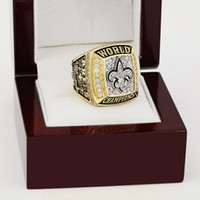 Wholesale Wooden Gift Box Set - Sales Promotion 2009 New Orleans Saints Replica Super Bowl Championship Ring Replica copper Rings For Men high quality with wooden box