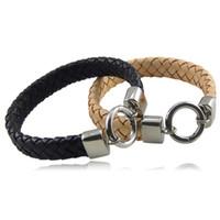 Wholesale Simple Bracelet Leather - Fashion Jewelry Simple multi-layer Weave Leather Bracelet Men's Stainless Steel Bracelets Bangles