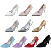 Wholesale Stylish Pumps - Women Pumps High Heel Shoes Stylish Pointed Toe Ladies Thin High Heel Shoes Top Fashion Pumps 1B