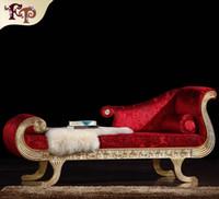 mobília francesa antiga venda por atacado-Estilo rococó Chaise Lounge francês clássico mobiliário, europeu clássico antigo quarto móveis de madeira maciça chaise loungue frete grátis