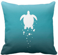 Wholesale Bubbles Show - Sea turtle bubbles against blue-green ocean throw pillow 50% cotton and 50% linen material color as shown 16x16inch 18x18inch 20x20inch