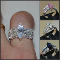 Wholesale Pink Stones Jewelry - Luxury 925 Sterling Silver Marquise Cut Pink Blue white three Colour Diamond CZ Side Stone rings Wedding Band Ring finger Jewelry for Women