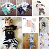 Wholesale boys 24 months pajamas - Baby boy girl INS letters stripe Suits Kids Toddler Infant Casual Short long sleeve T-shirt +trousers+hat 3pcs sets pajamas clothes B11