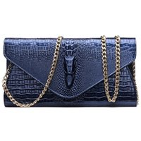 Wholesale Long Ladies Small Shoulder Bag - Fashion Clutch Bags Women 2017 New Handbags Leather Chain Long Black Blue Gold Wallet Ladies Shoulder Bag Layer Leather