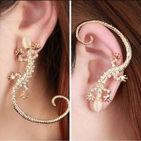 Wholesale Golden Ear Cuffs - Earcuff Fashion Ear Cuff Rhinestone earrings ear Cuff Luxury elegant golden Silver Plated exaggerated gecko lizard stud earrings Jewelry