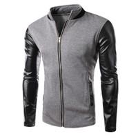 Wholesale mens leather baseball jackets - Winter Cool College Baseball Jacket Men Fashion Design Black Pu Leather Sleeve Mens Slim Fit Jacket Gray