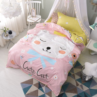katzen quilts großhandel-Nette rosa Katze Bettdecken Sets Bettbezüge Bettlaken Kissen Shams Tagesdecken 100% Baumwolle Teen Kinder Mädchen Weihnachtsgeschenk Twin Size