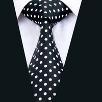 Wholesale Black White Dot Tie - Classic Silk Black and White Polka Dot Mens Ties Jacquard Woven Business Wedding Meeting Party Prom Free Shipping D-1459