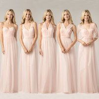 Wholesale Maid Honor Tulle Dresses - 2017 New Blush Pink Convertible Bridesmaid Dresses Cheap Ruched Long Simple Cheap Backless Long Maid of the Honor Dresses