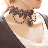 Wholesale Black Gothic Cross Pendant - Wholesale Lace Choker Necklace Retro Exaggerated Gothic Cross Collar Ribbon Ellipse Pendant For Women Luxury Jewelry For Woman 3005