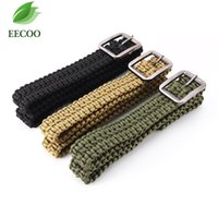 Wholesale Parachute Belt - New Survival Paracord 550 parachute cord Solid Steel Buckle Paracord belt outdoor sports Waistband Girdle,Camping Climbing black