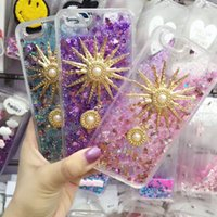 Dekoration Telefon Fällen Kaufen -PC Flüssigkeit Bling Blings Quicksand Handy Fall Sunflower Perle Dekoration Rückseitige Abdeckung Ultra Thin Case für Iphone5 Iphone6 ​​6plus