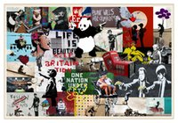 nackte leinwanddrucke großhandel-Banksy Collage Montage neu, Home Decor HD gedruckt moderne Kunst Malerei auf Leinwand / ungerahmt / gerahmt