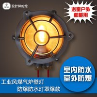 outdoor gas lamp post - Lamp american vintage led outdoor bathroom explosion proof waterproof gas stove wall lamp
