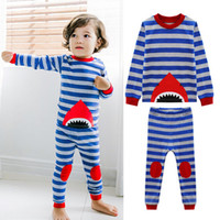 Wholesale Boy Set Winter - Kids Long Pajamas Sleepwear Night Wear Autumn Winter Boys Cotton Blue Striped Shark Design Sleep Clothing Sets Children Night Clothes Suits