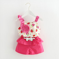 Wholesale Chinese Strawberries - Kids clothes sleeveless strawberry flowers Sling clothing set summer style children clothing top+short pants 2 pcs 4 s l