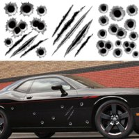 Wholesale Car Bullet Holes - 1Pcs 23*29cm Funny Car Sticker 3D Bullet Hole Car Styling Accessories Motorcycle Scratch Decal Stickers car Free Shipping