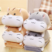 Wholesale Gray Brown Quilt - Cute Hamsters Pillow Blanket Three In One Day Sleeping Coral Velvet Quilt Pillow Car Bedside Cushion Dual-use Doll Plush Toys Children Gifts