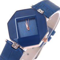 Wholesale Leisure Glasses - Luxury Mirror Dial Watch Women Diamond Rhombic Leather Watches Fashion Leisure Rhinestone Crystal Dress Quartz Wrist watches for women