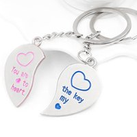 Wholesale Metal Heart Keyfob - 2pcs Heart Couple Key Chain Ring Keyring Keyfob Lover Gifts Couples Partner E00124