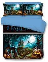Wholesale Twin Beds For Kids - Happy Halloween Bedding Set for Kids 3 or 4 pcs Funny Gift 3D Print Bedlclothes Duvet Cover Sheet Twin Full Queen King size bed linings