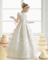 Wholesale Dress Ribbon Baby - 2015 Lovely Baby Flower Girls' Dresses Short Sleeve Zipper Floor Length Smooth Satin White Flower Ball Gown Little Girls Gowns