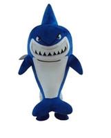 mavi maskotlar toptan satış-Likable Açık Mavi Balina Köpekbalığı Bulma Nemo Bruce Maskot Kostüm Beyaz Belly Yetişkin No.1981 Ile Cetacean Selachimorpha Ücretsiz Gemi
