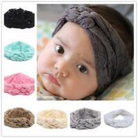 Wholesale Cross Wrap Hair - New Baby Girls Headbands Kids Cross Knot Braided Hairbands Children Lace Hair Accessories Head Wrap Lovely Infant Elastic Headband KHA273