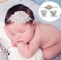 Wholesale Baby Sandles - European Amearican Hot Baby Photography Accessories Infant Diamond Barefoot Sandles + Headbands 3pcs New Barefoot Rhinestone Shoes Set 9325