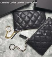 münzen schlüsselanhänger großhandel-2018 Mode Frauen Zippy Brieftaschen Schwarz Kaviar Lederband Münze Brieftasche Metall Kugelkette Männer Kleine Schlüsselhalter Kartenhalter Mit Box