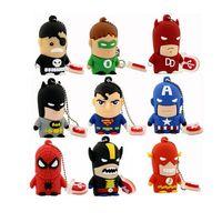 Wholesale Superhero Pens - Best Gift Superhero Avenger Superman Batman Spider Man Pendrive USB 2.0 USB Flash Drive 8GB 16GB 2GB 4GB 1GB Cartoon Pen Drive