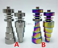 Wholesale titanium rainbow quartz wholesale - Rainbow Domeless Titanium Nail 6 IN 1 Titanium Nails 10mm 14mm 18mm Female and Male Joint For Glass Bong Water Pipes vs Quartz Carb Cap