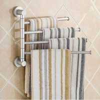 Wholesale Chrome Towel Bars - Aluminium Towel Rack Swivel Bars Rotary Bar Wall-mounted Bath Bathroom Kitchen Towels Holder Hanger Sets Rotary towel rack