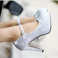 Wholesale Bride Wedding Flat Shoes - 2016 New Cinderella heels bride waterproof single crystal shoes taobao hot style for women's shoes