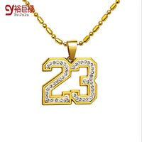 Wholesale Men Basketball Necklace - 2016 High Quality Mens womens Hip hop 18K Real Gold Plated Crystal Numbers 23 Roman Numerals Pendants Necklace Basketball Jewelry Men
