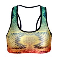 Wholesale Colorful Shirt Women - 3D Print Sport Bras Elastic Quakeproof Yoga Shirt Running Tank Tops Bodybuilding Vest Exercise Lady COLORFUL Snakeskin Pattern T-shirt LNSsb