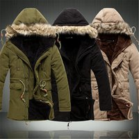 Wholesale fur trimmed hood - Wholesale- Men Coat Hot Sale Men's Solid Causal Long Warm Coat Male Fashion Padded Hooded Winter Wear Thick Coat
