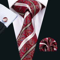Wholesale Wool Woven Tie - Red Mens Ties Classic Silk Necktie Set Paisley Mens Neck Ties Tie Hankerchief Cufflinks Jacquard Woven Meeting Business Wedding Party N-1569