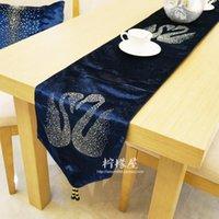 Wholesale Diamond Velvet Bedding - Simple fashion luxury wedding diamond gift Swan velvet bed table cloth table cloth cloth flag
