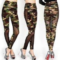 Wholesale Wholesale Camo Mesh - Sexy Women Fashion Mesh Camouflage Leggings High Waist Patchwork Stretchy Slim Army Camo Leggings Female Fitness Leggings