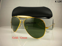 Wholesale Mens Designer Sunglass Brands - High quality sunglasses brand designer fashion New 62MM sunglass Mens Womens sun glasses gold green lens For box And case Free Shipping