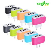 Wholesale Color Usb Ac Wall Charger - LED Light 3USB Charger Triple ports 3.1A USB AC US EU candy color wall charger home plug for iphone 8 for samsung