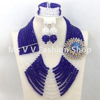royal blue african jewelry set Australia - Splendid 10 Layers luxury royal blue white Nigerian Wedding Beads Jewelry Set Luxury Rhinestone Brides Gift Jewelry Free Shipping