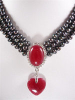 Wholesale Jade Pearl Pendant - 3rows 7-8MM black pearl necklace red jade pendant