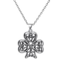 Wholesale Mens Religious Necklace Pendant - Antique Silver Plated Three Left Clover Knot Pendant Necklace Religious Style Mens Jewelry