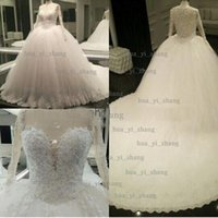 Wholesale Transparent Bodice Wedding Dress - Real Image Wedding Dress 2016 Ball Gown Sheer Sweetheart Long Transparent Sleeve Puffy Chapel Train Bridal Dresses Dhyz 01
