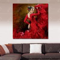 nice dresses imágenes al por mayor-Bonita decoración para el hogar Cuadro de pared para la sala de estar Cuadro hecho a mano en la pared Resumen vestido rojo Gir Pintura al óleo sobre lienzo No enmarcado