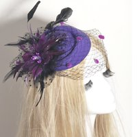 Wholesale cocktail hats china for sale - Group buy Lady Women Purple Black Feather Flower Pillbox Hat Fascinator Mini Hat Wedding Bridal Veill Handmade Gift Church Cocktail